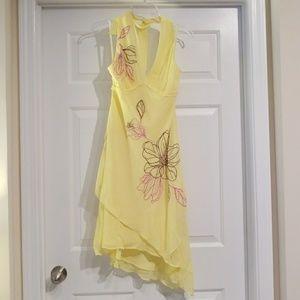 BCBG yellow silk dress